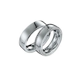 Exkluzív fehérarany jegygyűrű alul, felül és oldalt gyémántokkal