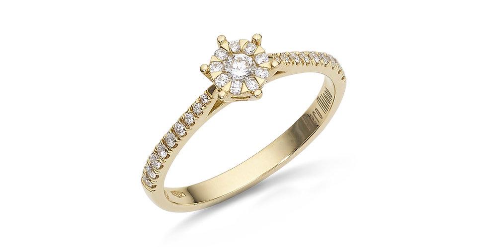 Sárgaarany gyémánt gyűrű kis briliánsokkal a gyűrűsínben
