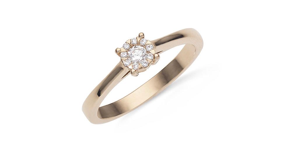 Rózsaarany invisible foglalatos szoliter gyémánt gyűrű