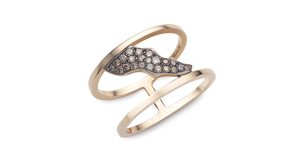 """Rózsaarany """"duplasínes"""" modern gyűrű barna gyémántokkal"""