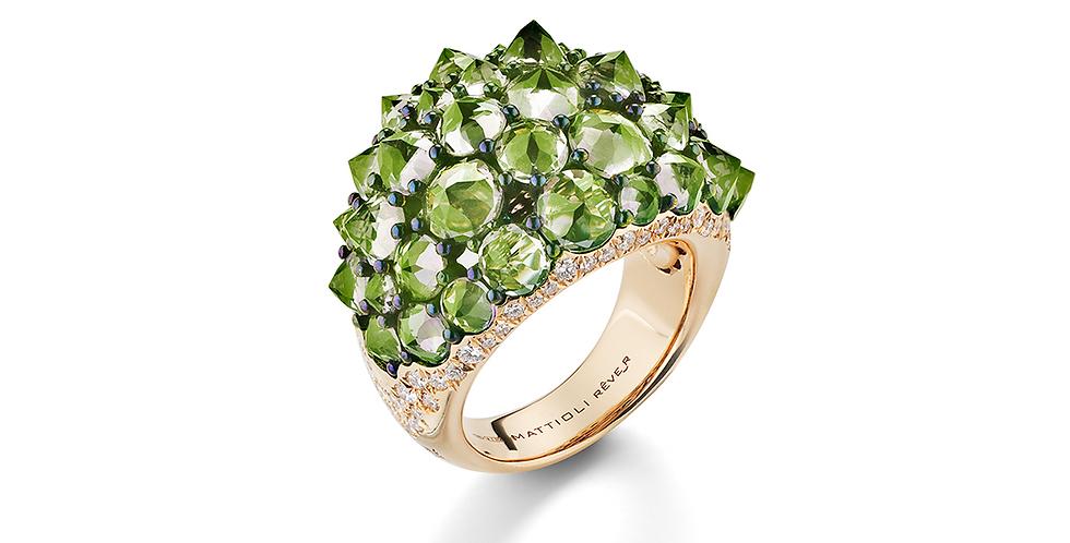 Mattioli zöld koktélgyűrű fejjel lefelé foglalt drágakövekkel és gyémántokkal