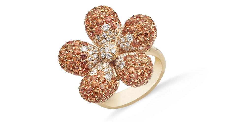Garavelli virág formájú rózsaarany gyűrű narancsszínű zafírokkal és gyémántokkal
