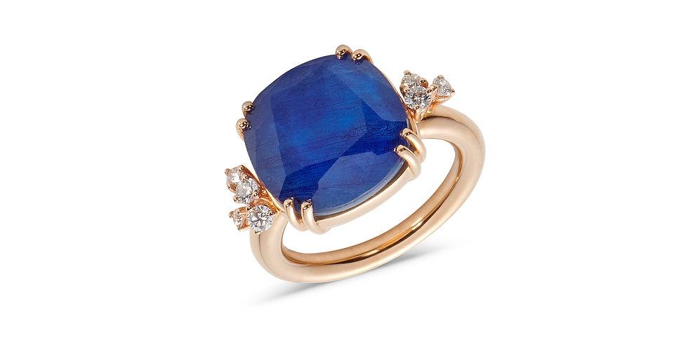 Cervera 18Kt rózsaarany és kék zafír dublett gyűrű gyémántokkal