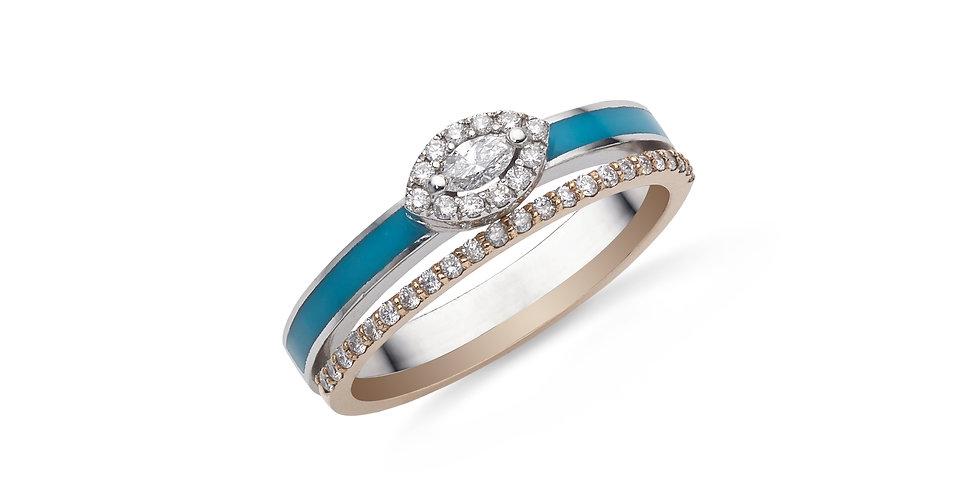 Fehérarany dupla gyűrű türkiz tűzzománccal és marquise gyémánttal