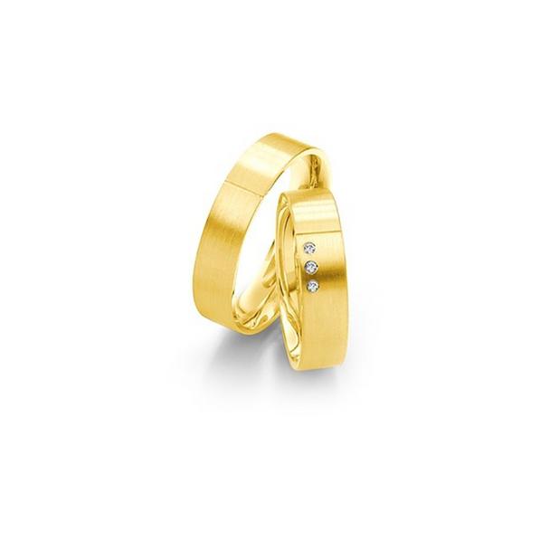 Matt és fényes sárgaarany karikagyűrű 3 db gyémánttal