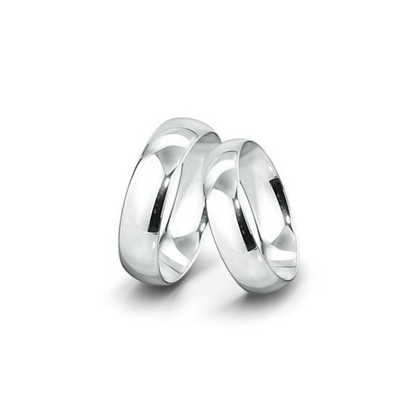 Belül és kívül is domború felületű fehérarany jegygyűrűpár (6,5 mm)