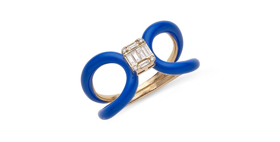 Rózsaarany fantázia gyűrű gyémánttal és kék tűzzománccal