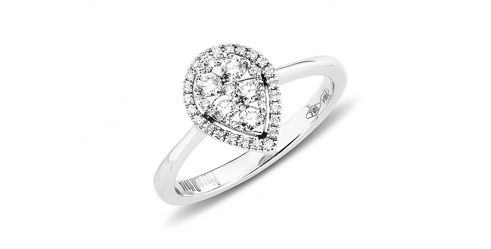 Piero Milano csepp alakú fehérarany  gyémánt gyűrű