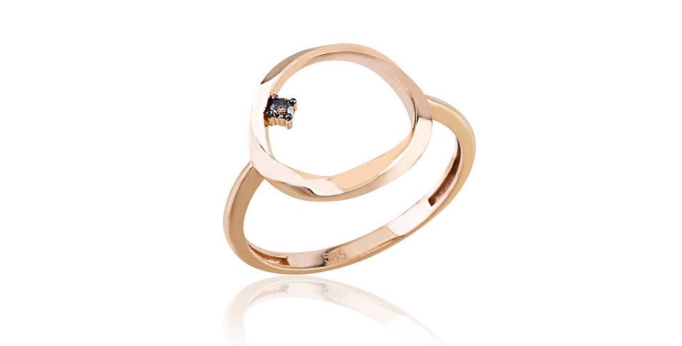 18kt-os rózsaarany karika formájú gyűrű pezsgőszínű gyémánttal