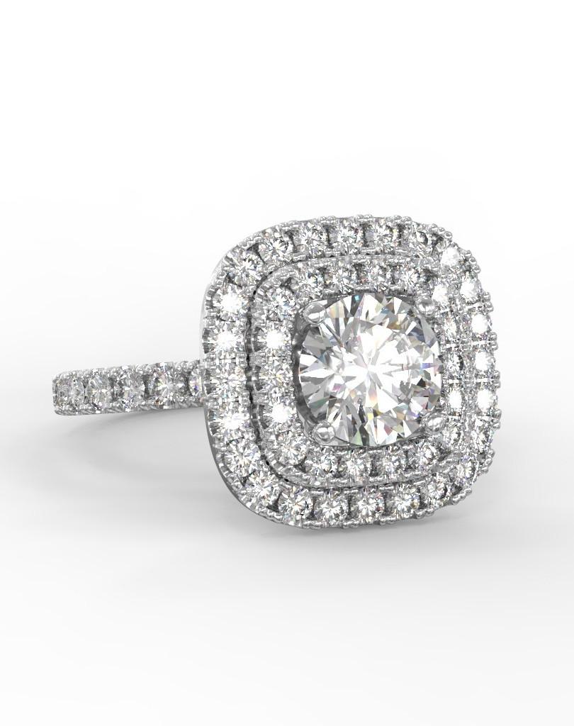 Dupla halo gyémánt gyűrű fotrealisztikus terve 2. nézet