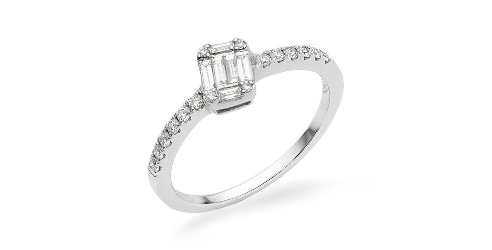 """Fehérarany """"invisible"""" foglalatos ferdített bagett gyémántgyűrű"""