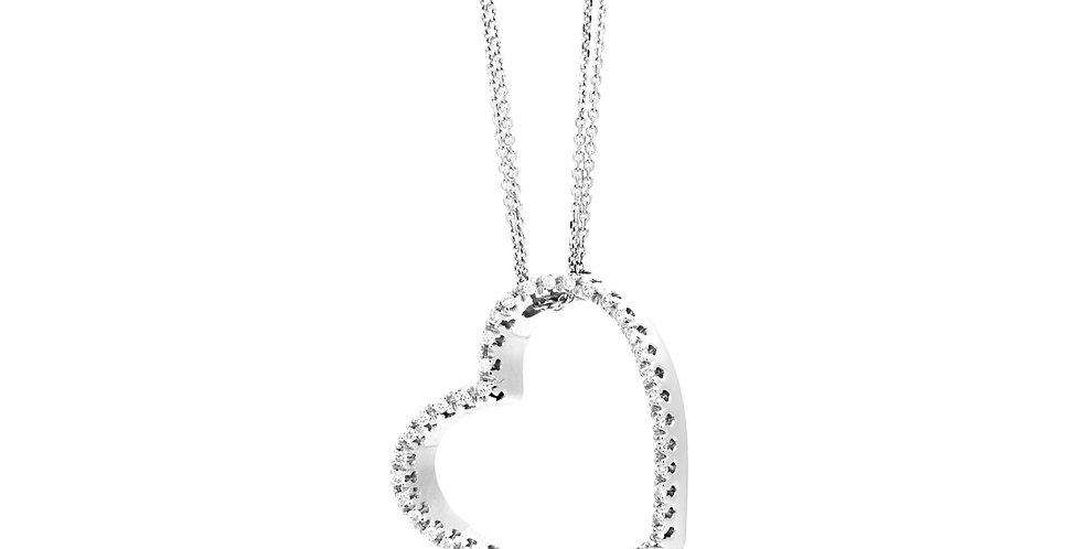 Garavelli fehérarany ferde szív medál gyémántokkal körbefoglalva dupla láncon