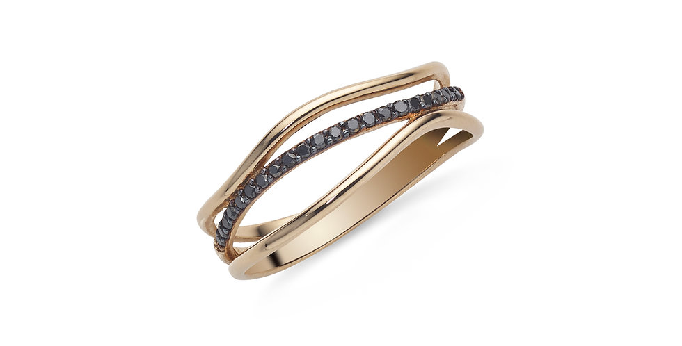 Rózsaarany, hullámos fazonú gyűrű fekete gyémántokkal