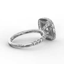 Dupla halo gyémánt gyűrű fotorealisztikus terve 4. nézet