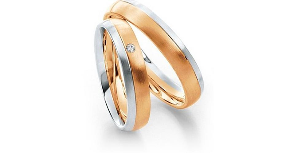 Matt rozé- és fehérarany bicolor jegygyűrűpár gyémánttal