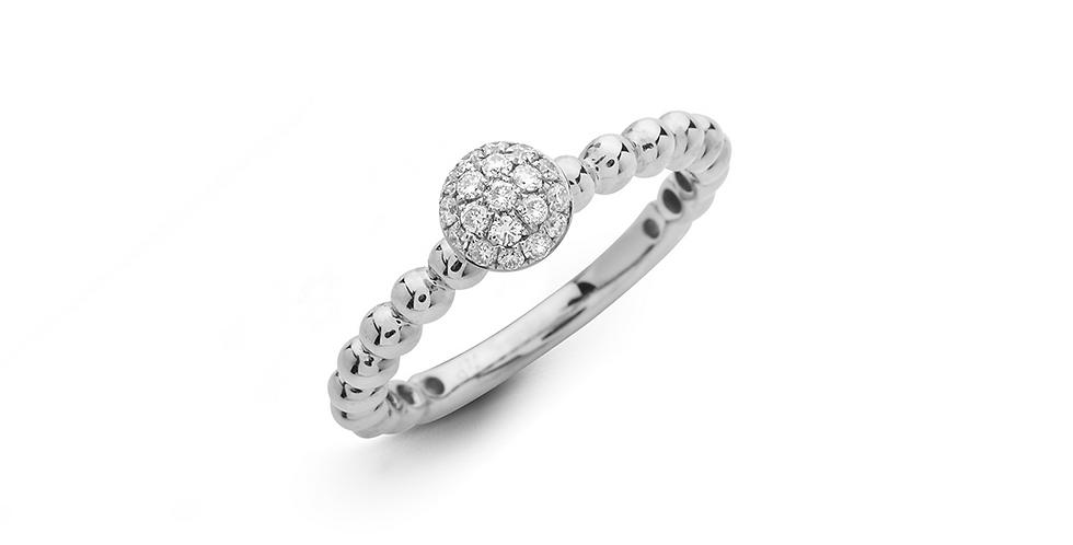 Hulchi Belluni 18kt-os fehérarany bogyós gyűrű gyémántokkal