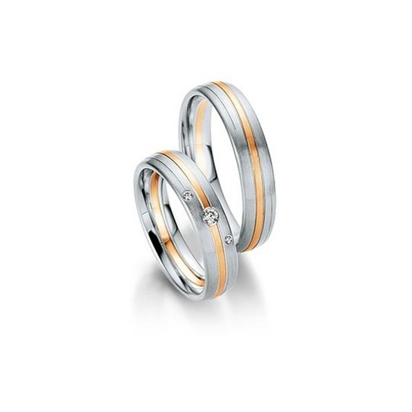 Fehér- és rozéarany bicolor csíkozott karikagyűrű 3db gyémánttal