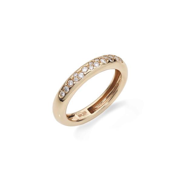 Alberti 18kt-os rózsaarany karikagyűrű gyémántokkal