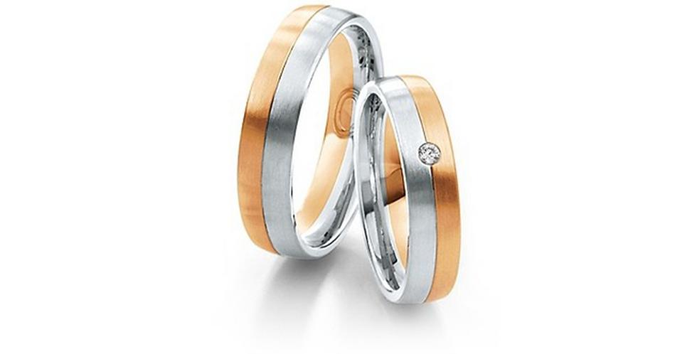 Fehér és rozéarany bicolor karikagyűrű gyémánttal