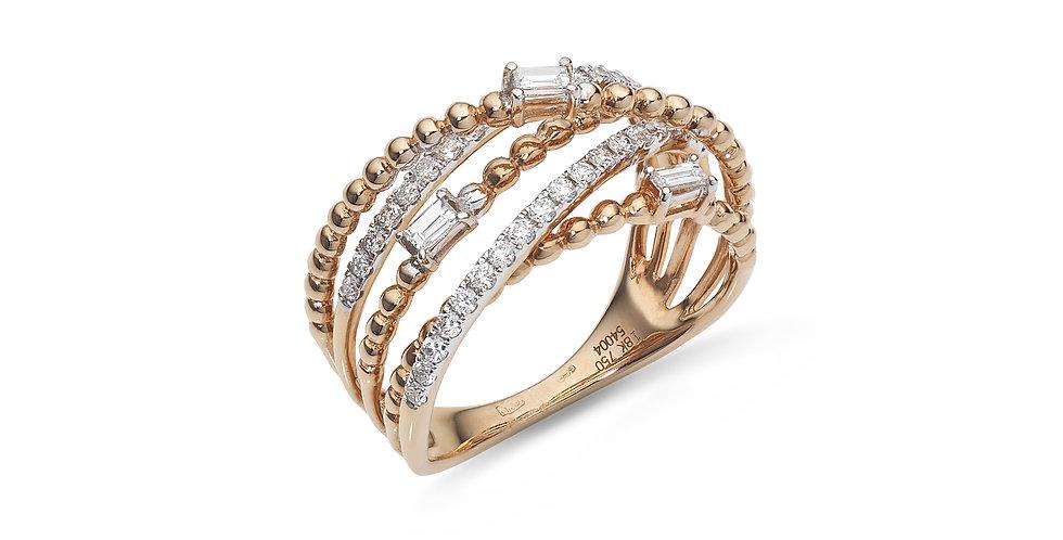 Rózsaarany és fehérarany többsoros gyűrű gyémántokkal