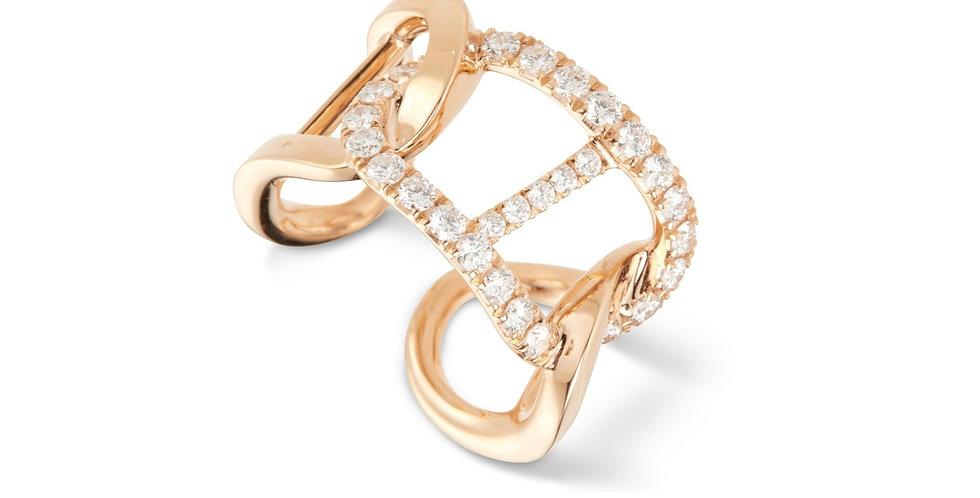 Rózsaarany dizájn gyűrű fehér gyémántokkal