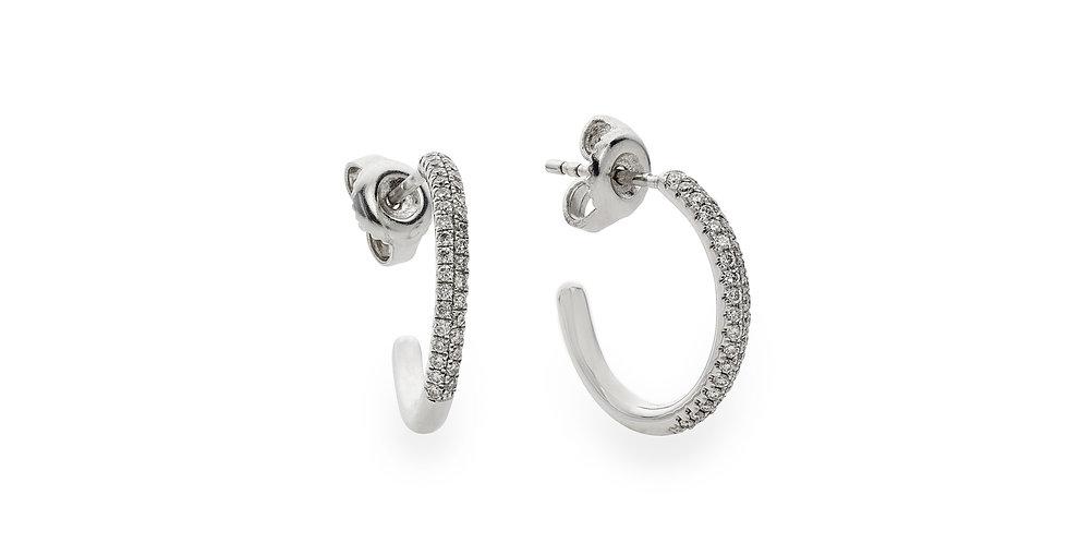Piero Milano fehérarany stekkeres karika fülbevaló pavé foglalatú gyémántokkal