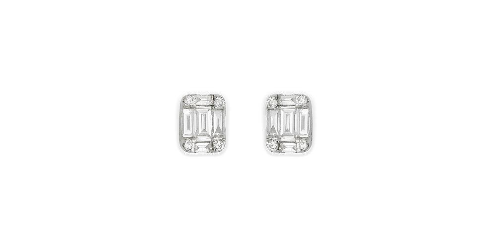 Fehérarany szögletes alakú fülbevaló bagett csiszolású gyémántokkal