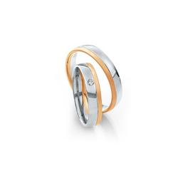 Fehérarany karikagyűrű egyik oldalon rozéarany szegéllyel és gyémánttal