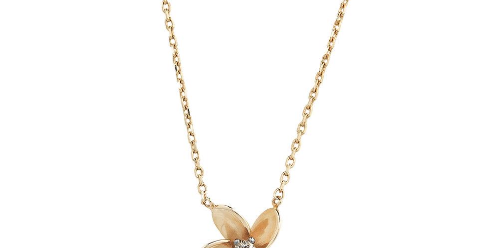 18kt-os rózsaarany virág nyaklánc gyémánttal a közepén