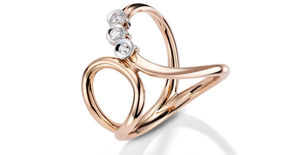 Mattioli rózsaarany pillangó formájú gyűrű mozgó gyémántokkal