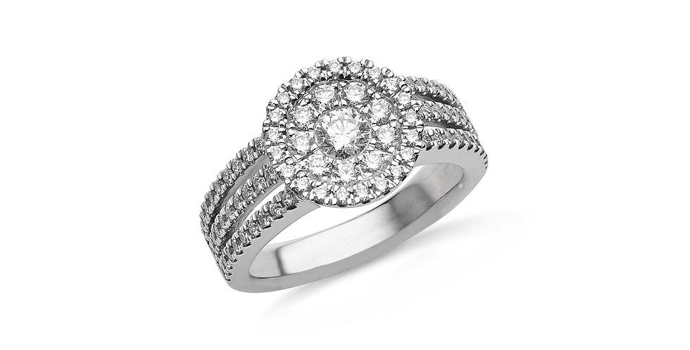Hulchi Belluni fehérarany és gyémánt exkluzív eljegyzési gyűrű