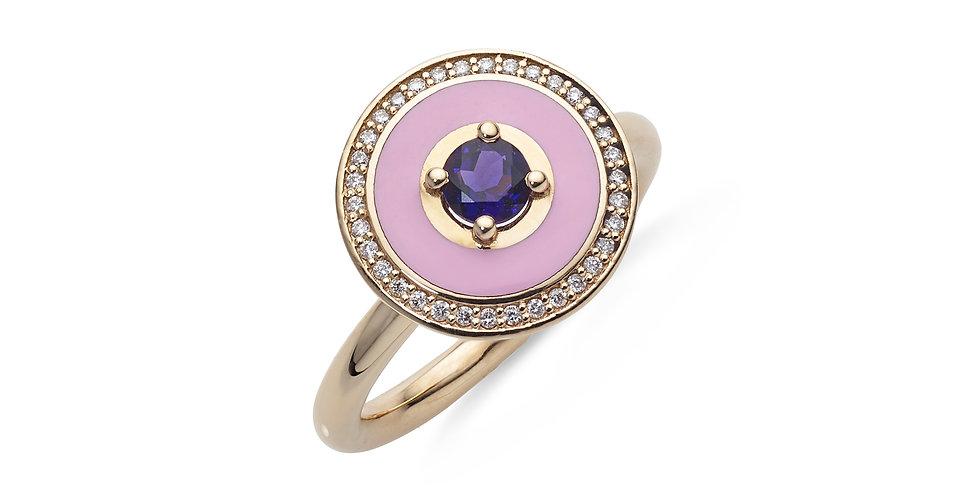 Rózsaarany gyűrű ametiszttel, gyémánttal és rózsaszín tűzzománccal