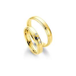 Sárgaarany fényes karikagyűrű vékony csíkkal a szélén, 3 db gyémánttal