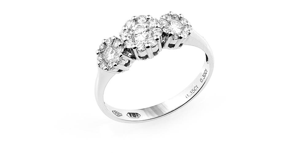 Piero Milano hétköves trilógia gyémánt gyűrű fehérarany foglalatban