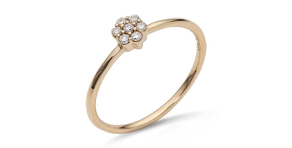 Rózsaarany gyűrű virág alakú gyémánt díszítéssel