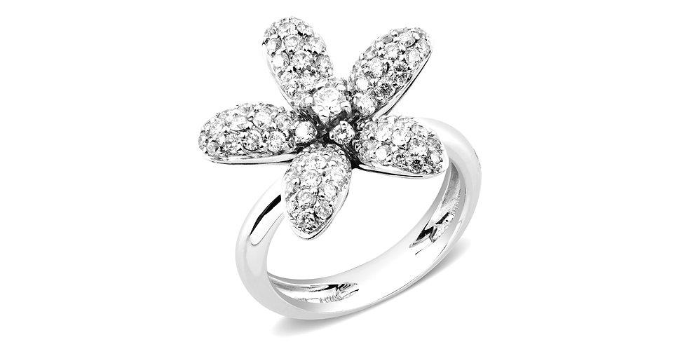 Garavelli 18kt-os fehérarany virág formájú gyűrű gyémántokkal kirakva