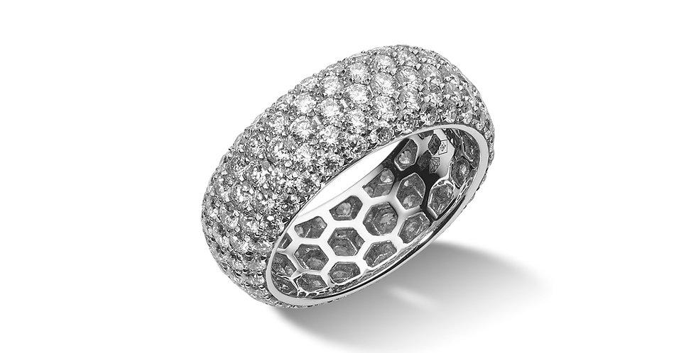 Fehérarany, körben öt soros pavé gyémánt gyűrű