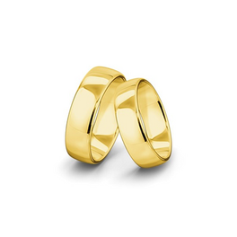 Belül és kívül is domború felületű sárgaarany jegygyűrűpár (7 mm)