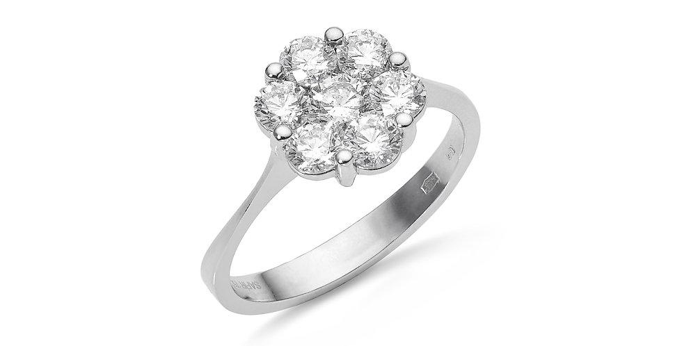 Fehérarany hétköves gyémánt gyűrű virág alakú foglalattal
