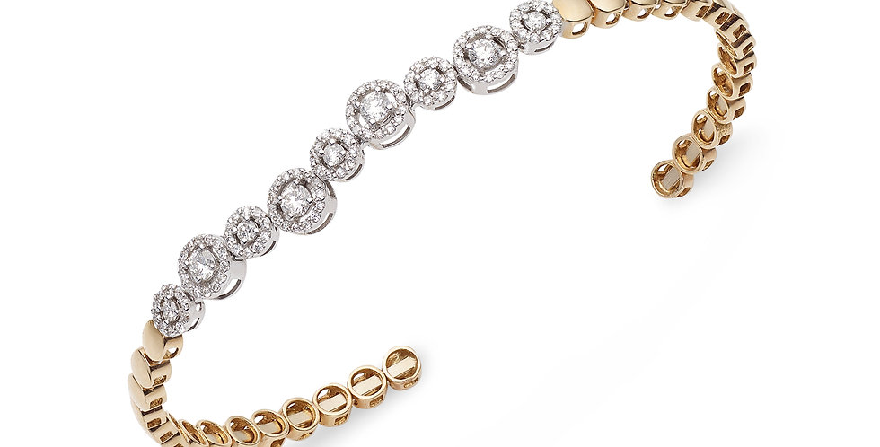 Rózsaarany nyitott végű karperec fehéraranyba foglalat gyémánt díszítéssel