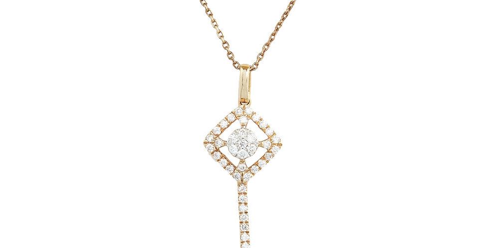 Kulcsot formázó gyémántos medál rózsaarany láncon