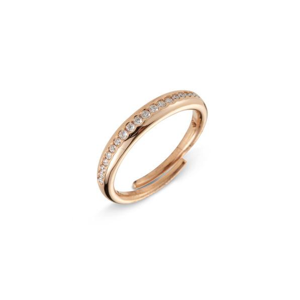 Cervera 18kt rózsaarany karikagyűrű gyémántokkal