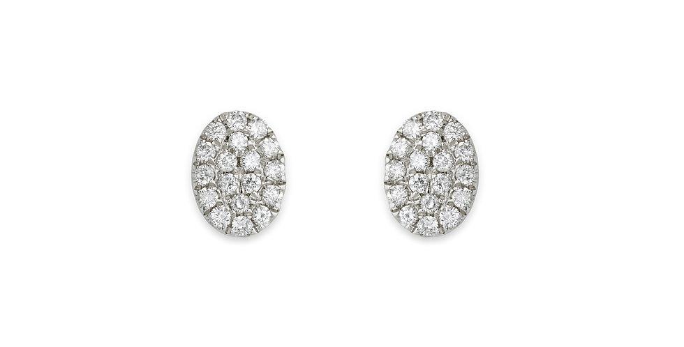 Piero Milano 18kt-os ovális gyémánt fülbevaló stekkeres zárral