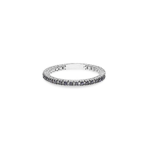 Piero Milano flexibilis karikagyűrű 18kt-os fehéraranyból, fekete gyémántokkal