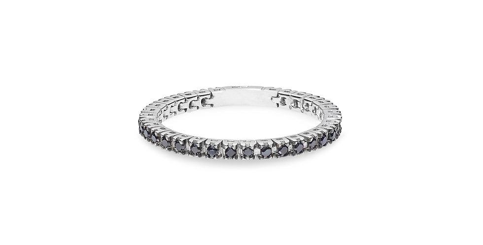 """Fehérarany """"eternity"""" körben fekete gyémántos flexibilis gyűrű"""