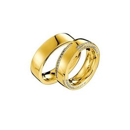 Exkluzív sárgaarany jegygyűrű alul, felül és oldalt gyémántokkal