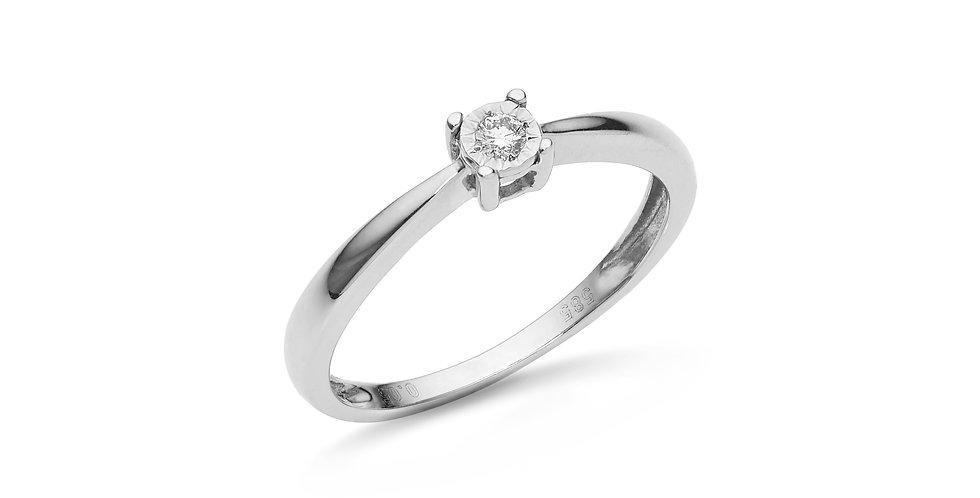 """Fehérarany """"illusion"""" foglalatú gyémánt  szoliter gyűrű"""