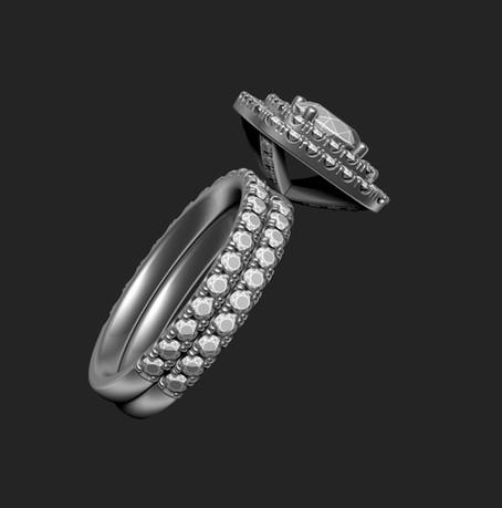 Dupla halo gyémánt gyűrű 3D terve 3. nézet