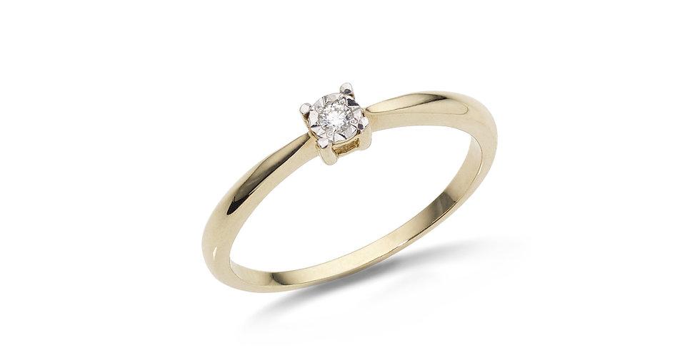 """Sárgaarany """"illusion"""" foglalatú gyémánt szoliter gyűrű"""