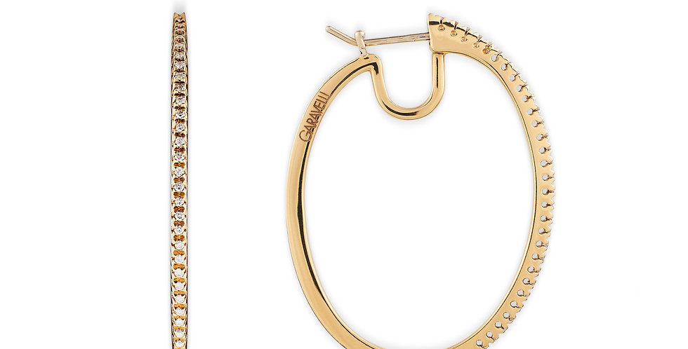 Garavelli 18kt-os sárgaarany ovális fülbevaló gyémántokkal